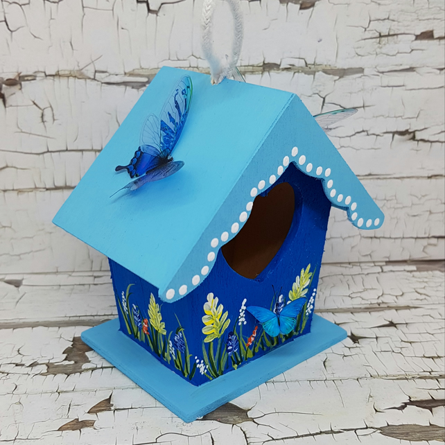 Blue butterfly mini birdhouse decoration