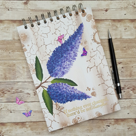 Buddleia Blank A5 Hand painted journal, sketch book, art journal SLIGHT SECOND