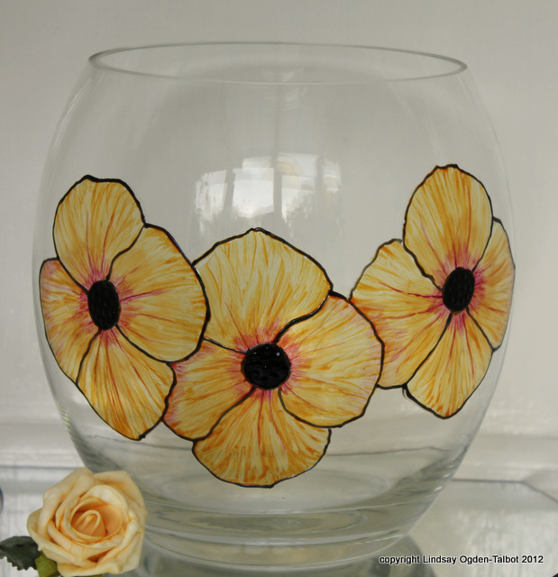Peachy Poppies Vase