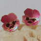 Pink Pansy Stud Earrings