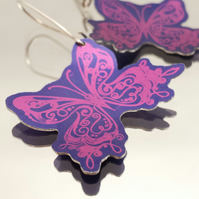 Butterfly Earrings in Purple and Magenta Anodised Aluminium