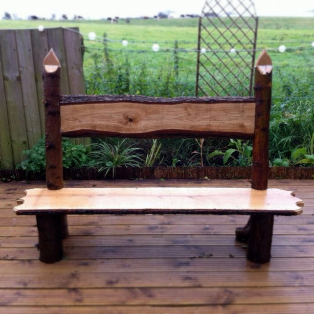 Hand Made Rustic Oak Bench Seat Or Pew Made Wi Folksy