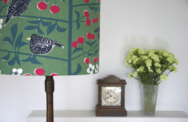 handmade lampshade swedish black birds bespoke linen uk