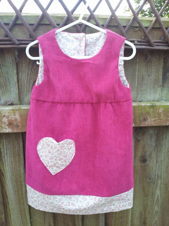 Corduroy and print Pinafore dress Age2