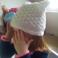 White square knitted hat
