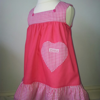 Cerise square neck dress Age 1