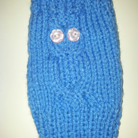 Owl fingerless mittens or wrist warmers