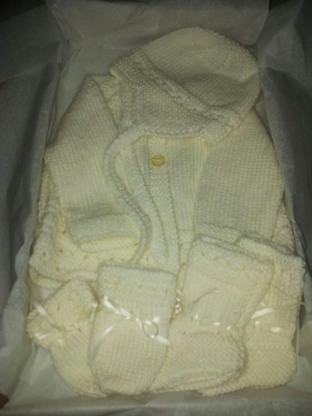 Hand knitted cream baby gift set