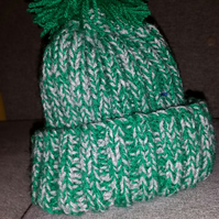 Child's Silver and Green Bobble Hat
