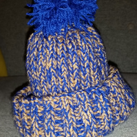 Child's Blue and Bronze Bobble Hat