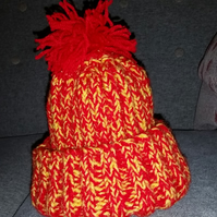 Child's Red and Gold bobble hat