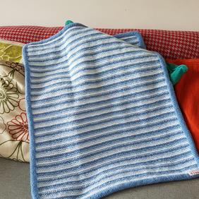 Blue stripe handknitted baby blanket