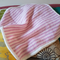 Pink, Mauve and White stripe blanket