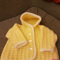 Pale Lemon Hooded Knitted Jacket