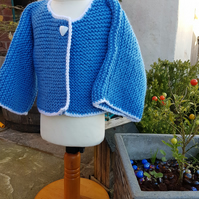 Blue knitted jacket age 3