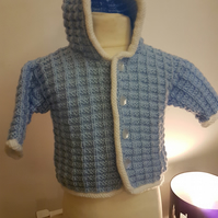 Blue and white knitted baby jacket 0-3months
