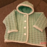 Mint and white knitted baby jacket 0-3months