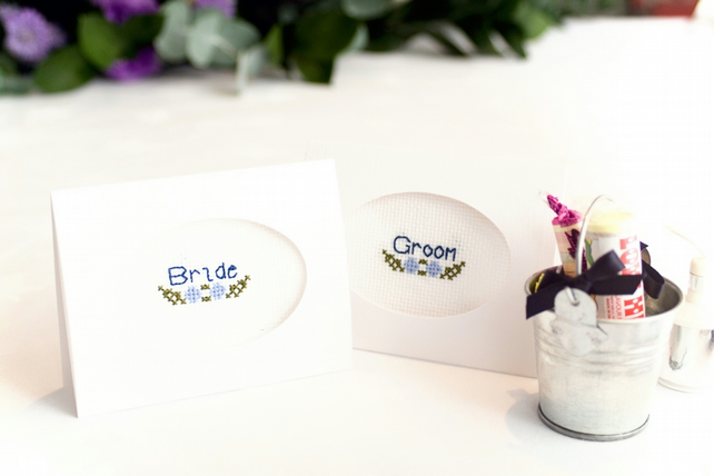 Wedding Stationery - Personalised Flower Motif Cross Stitched Place Cards
