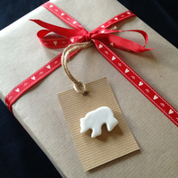 Porcelain Bear Gift Tag