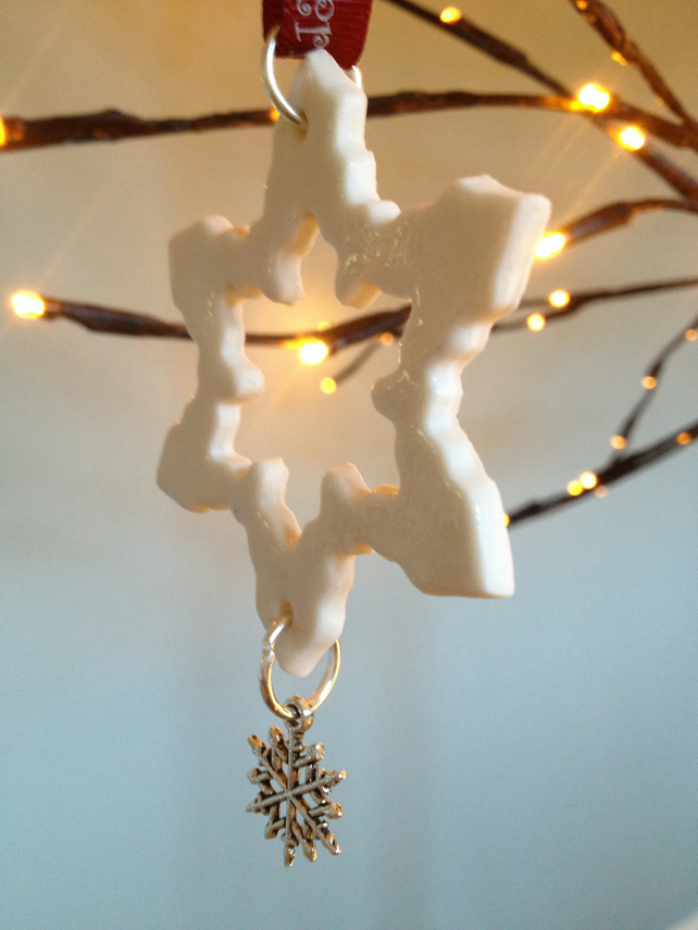 Porcelain Hand Made Snowflake Christmas Decoration