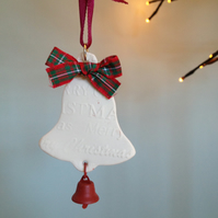 Porcelain Hand Made Tartan Bow Bell Christmas Decoration