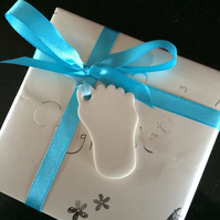 Porcelain Baby Foot  (blue) Gift Tag