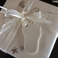 Porcelain Baby Foot  (cream) Gift Tag