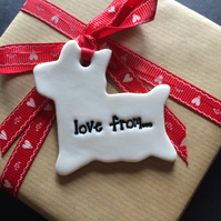 Porcelain Love from... Dog shaped Gift Tag