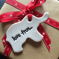 Porcelain Love from... Elephant shaped Gift Tag