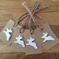 Set of Four Porcelain Reindeer Christmas Gift Tags