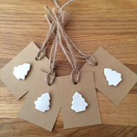 Set of Four Porcelain Christmas TreeGift Tags