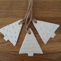 Porcelain Christmas Tree tags Set of 3