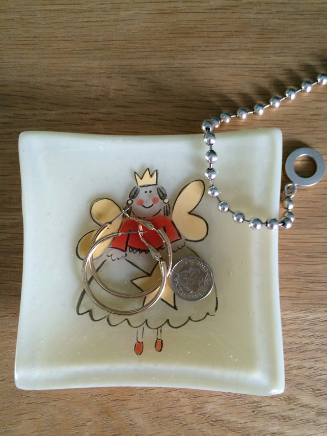 Fused Glass Angel or Fairy Ring dish