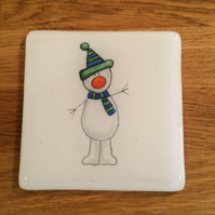 Fused Glass Snowman Coaster