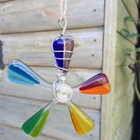 2 Handmade  Rainbow Wire Wrapped Fused Glass Flowers