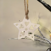 Porcelain Hand Made  Lacy SnowflakeChristmas Decoration
