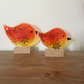 Fused Glass Mother and Baby Bird set on Oak Block