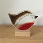 """Someone Dear"" Fused Glass Robin on Wood Base"