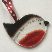 """Someone Dear"" Fused Glass Hanging Robin"