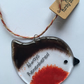 "Handmade Fused Glass ""Always Remembered"" Robin Christmas Decoration"