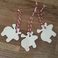 Porcelain Rudolph Christmas Tags Set of 3