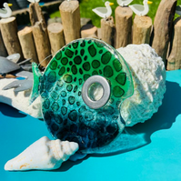 Large handmade fused glass big eye funky spotted  fish
