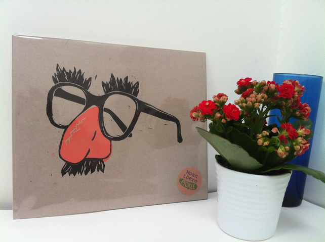 Funny nose and glasses lino print