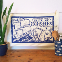 Screen Printed Pirate Ship and Sea Monster Cotton Tea Towel (from linocut)
