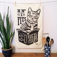 Screen Printed Cat Cotton Tea Towel (from linocut)