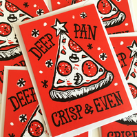 Pack of 5 Funny Pizza Christmas cards