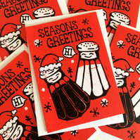Pack of 5 'Seasons Greetings' Funny Christmas cards