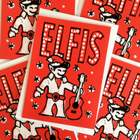 Pack of 5 Elfis Funny Christmas cards