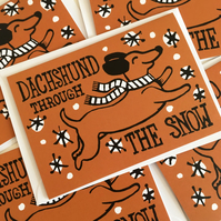 Pack of 5 Sausage Dog Dachshund Funny Christmas cards