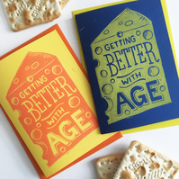 Linocut Cheese Funny Birthday Card (one card)